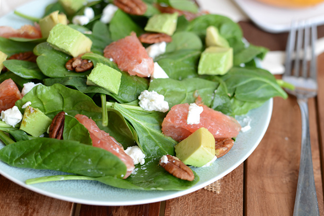 Broiled Grapefruit Spinach Salad, Fit Foodie Finds