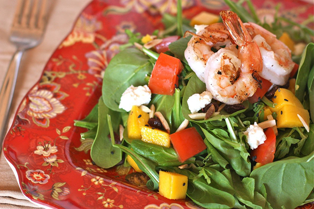 Spinach Mango Salad with Prawns, Against All Grain