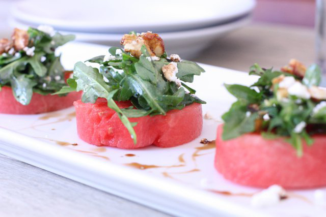 Watermelon Salad with Arugula, Goat Cheese, and Candied Walnuts, Against All Grain