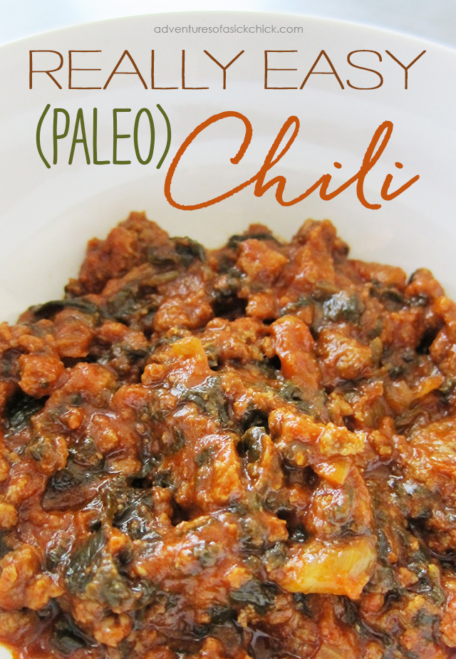 Easy Paleo Fall Recipes: Really Easy Paleo Chili (with Spinach)