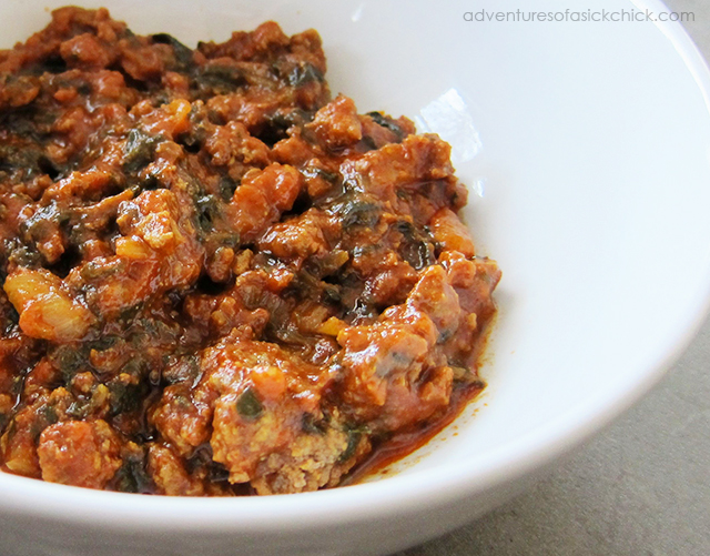 Really Easy Paleo Chili (with Spinach)