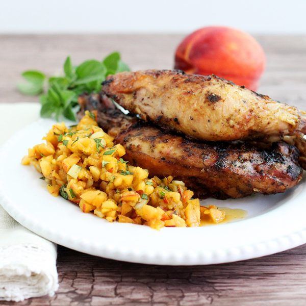 BBQ Chicken with Peach Salsa - Paleo, AIP, nightshade-free